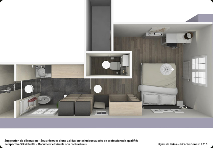 3d projet deco projets 3d de suites parentales. Black Bedroom Furniture Sets. Home Design Ideas