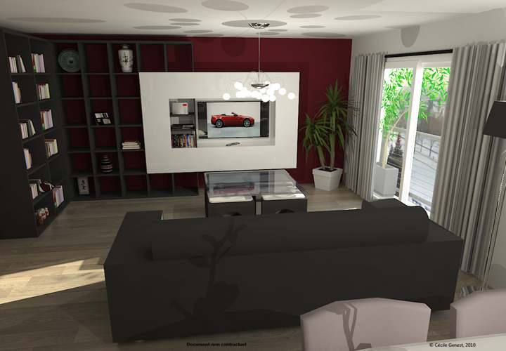 3d projet deco simulation 3d de salons contemporains for Decoration salon contemporain