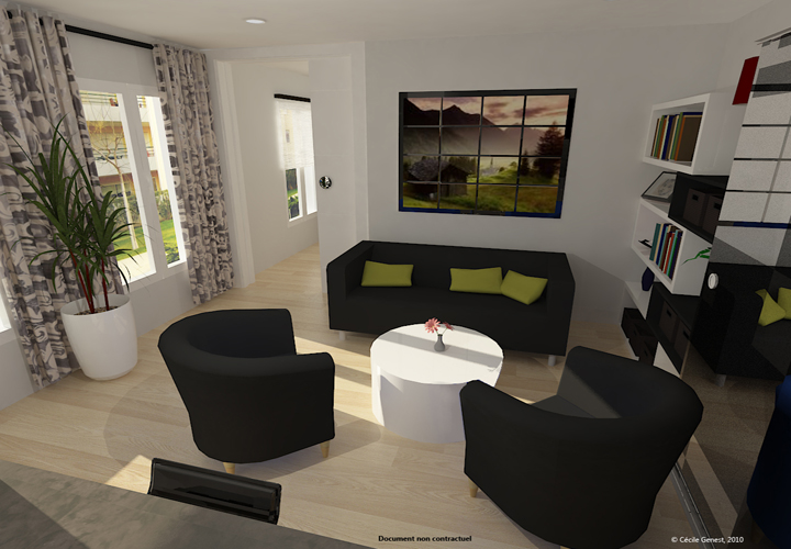 3d projet deco simulation 3d de salons contemporains for Deco rideaux salon contemporain