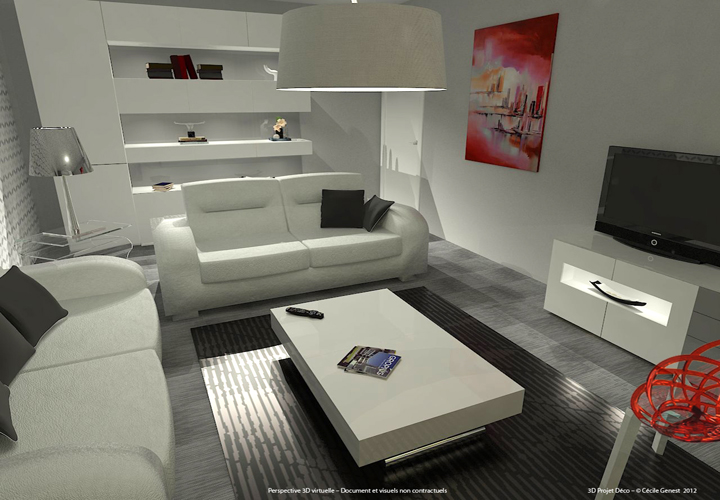 3d projet deco simulation 3d de salons contemporains et modernes for Deco salon moderne chic