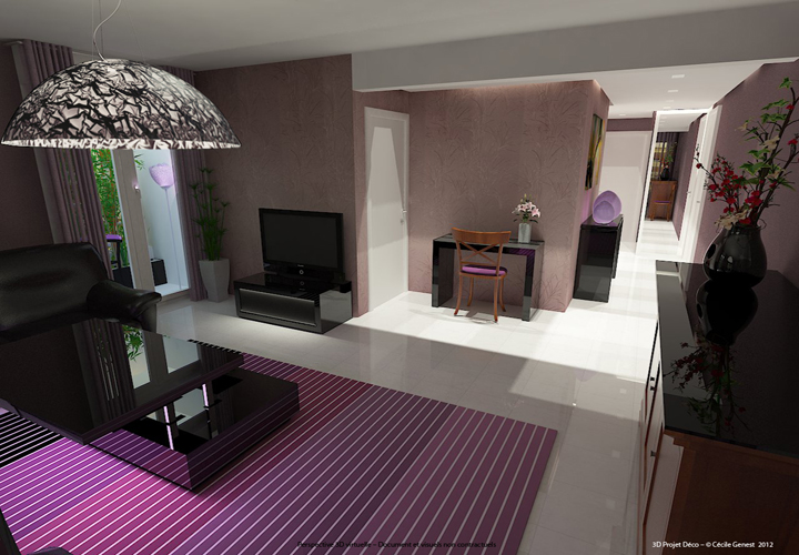 3d projet deco simulation 3d de salons contemporains et modernes for Amenagement salon contemporain